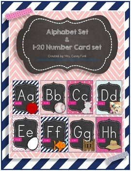 Pink and Navy Alphabet Set &1-20 Number Cards Chevron and
