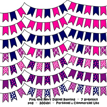 Pink and Navy Bunting Banner Clipart - 7 graphics for Comm
