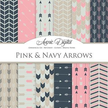 Pink and Navy Digital Paper patterns tribal arrows vintage