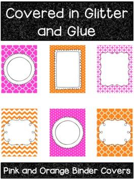 Pink and Orange Printable Binder Covers