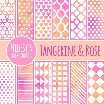 Pink and Orange Watercolor Backgrounds / Digital Papers Cl