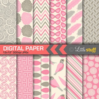 Pink and Pewter Digital Paper Pack