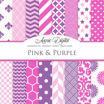 Pink and Purple Digital Paper patterns - backgrounds