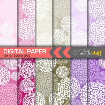 Pink and Purple Floral Digital Papers, Dahlias Digital Bac