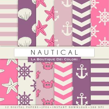 Pink and Purple Nautical Digital Paper, scrapbook backgrounds