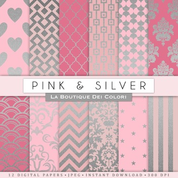 Pink and Silver Digital Paper, scrapbook backgrounds