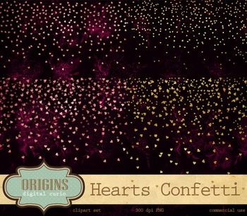 Pink and gold foil confetti hearts valentines day clipart