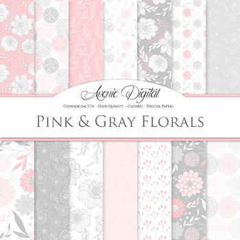 Pink and gray Floral Digital Paper patterns - Pastel dahli