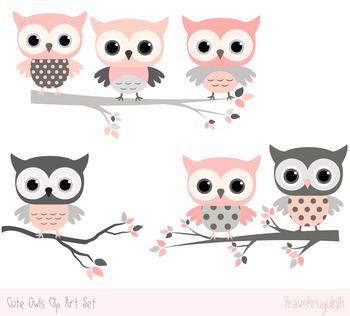 Pink and grey owls clip art set, Cute owls on tree branche