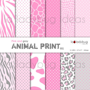 Pink animal print and dots patterns digital papers. Wallpapers.