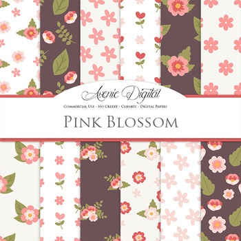 Pink blossom flowers Digital Paper floral printable patter