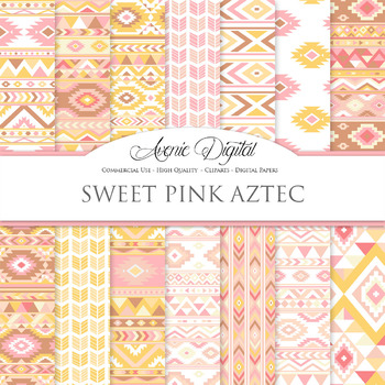 Pink lemonade aztec Digital Paper arrows tribal patterns s
