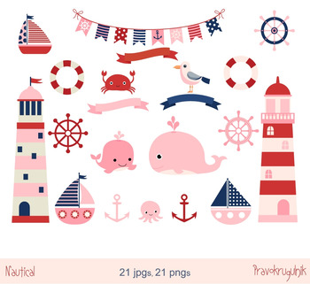 Pink nautical clipart set, Lighthouse, Whale, Boat, Anchor