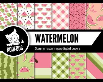 Pink summer watermelon digital papers summer fruit patterns