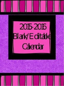 Pink/Purple AUGUST 2015 Blank/Editable Calendar
