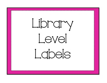 Pink/Zebra Leveled Library Labels