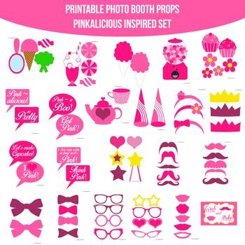 Pinkalicious Inspired Printable Photo Booth Prop Set