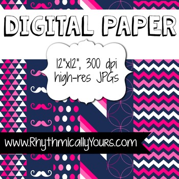 Pinks and Navy Digital Paper