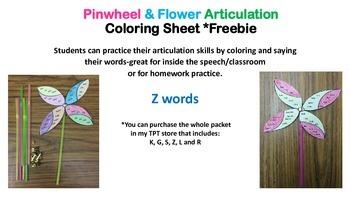 Pinwheel & Flower Articulation Coloring Sheet *Freebie Z sound