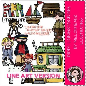 Pippi Longstocking by Melonheadz LINE ART