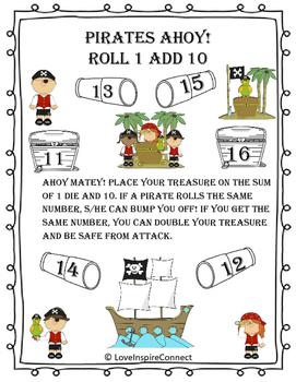 Addition Bump Game: Roll 1, Add 10 Pirate Theme