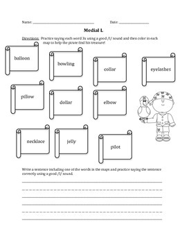 Pirate Articulation Worksheet- Medial L