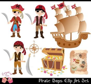 Pirate Boys Clip Art Set