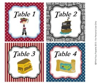 Pirate Classroom Decor Table Numbers