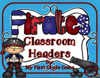 Pirate Classroom Headers