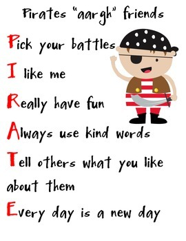 Pirate Classroom Rules and Being a Good Friend