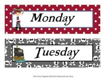 Pirate Days of the Week Calendar Headers