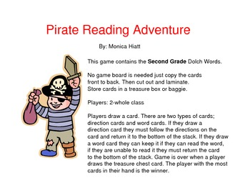 Pirate Dolch Sight Word Game Second Grade