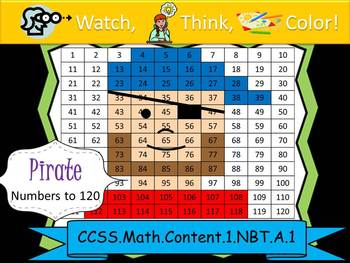 Pirate Hundreds Chart to 120 - Watch, Think, Color! CCSS.1