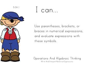 Pirate Kids Theme 5th grade math Common Core Posters Fifth
