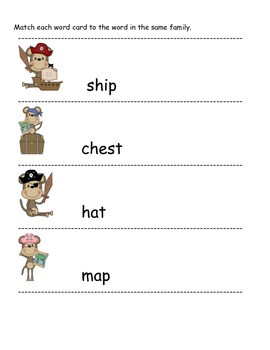 Pirate Monkey word families with short vowels, blends, and