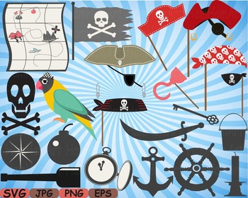 Pirate Photo Booth Props Pirates clip art maps Party Birth