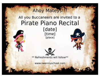 Pirate Piano Recital Invitation