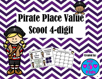 Pirate Place Value Scoot 4-digit Numbers/Task Cards