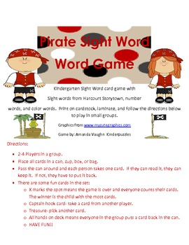 Pirate Sight Word Game! Kindergarten Harcourt words plus n