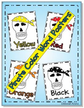 Pirate Skull Color Word Posters