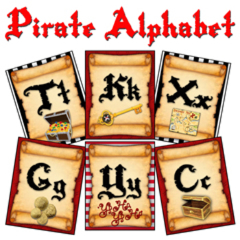 """Pirate Theme Alphabet Posters (Large) :: A - Z (8x10"""" Card"""