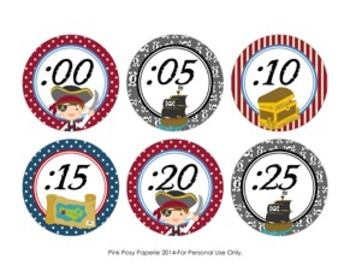 Pirate Theme Clock Number Labels