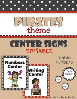 Pirate Theme - Editable Center Signs and Table Numbers- Cl