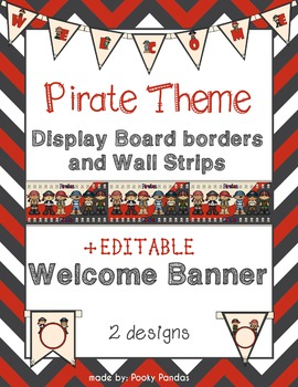 Pirate Theme - Editable Welcome Banner and Wall Strips- Cl