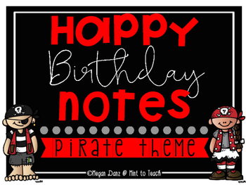 Pirate Theme Happy Birthday Notes