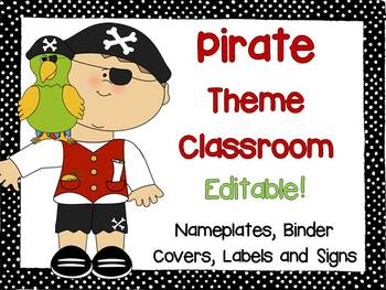 Pirate Theme Signs, Binder Covers, Labels and Nameplates {