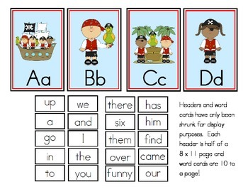 Pirate Theme Word Wall Headers and Sight Words
