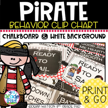Pirate Themed Behavior Clip Chart: Mix & Match Chalkboard/