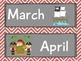 Pirate Themed Calendar Set Red Chevron
