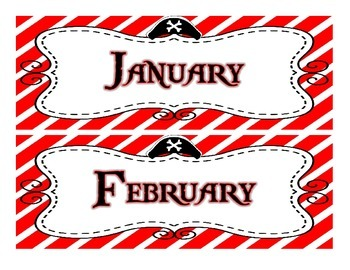 Pirate Themed Calendar Set